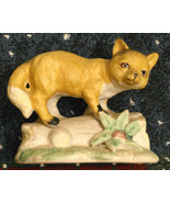 """FOX Figurine Collectible Ceramic Bisque Porcelain 4"""" tall missing paper ... - $19.76"""