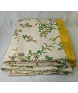 """Vintage Polyester Blanket Edging Yellow Flowers About 75"""" x 92""""  - $39.95"""