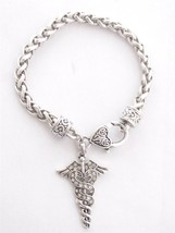 Caduceus Nurse Nursing RN Clear Crystal Silver Plated Lobster Bracelet J... - $14.72