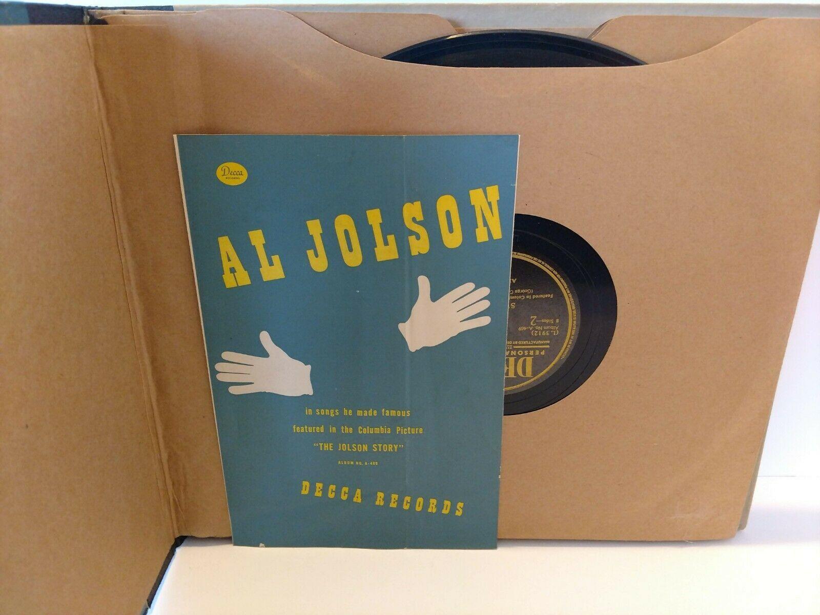 Vintage 4 Record Set 78 RPM Al Jolson Songs He Made Famous Decca