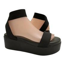 Steve Madden Delano Black Platform Stretchy Strapped Sandals Sz 8 Vegan ... - $29.69
