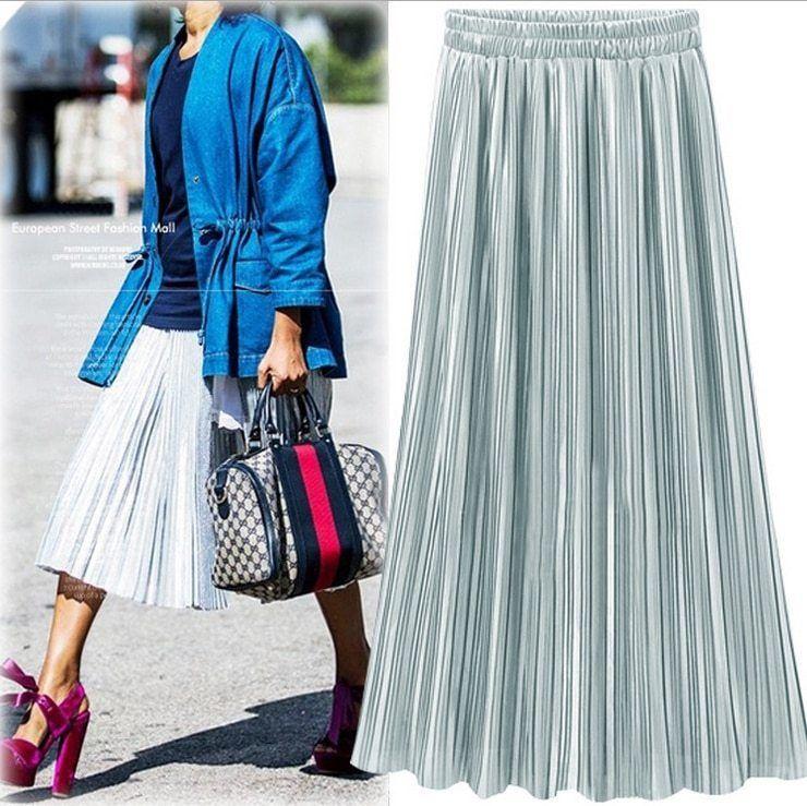 Silver Gold Pleated Skirt Vintage High Waist Long Metallic image 2