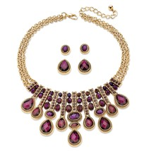 "Simulated Amethyst Gold Tone Necklace and Earrings Set 18""-22"" - $19.00"