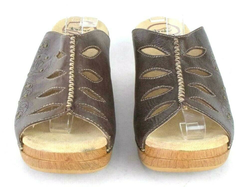 Dansko Studded Brown Leather Sandals Open Toe Clogs Chunky Womens 39 US 8.5 - 9