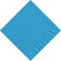 50 Plain Solid Colors Luncheon Dinner Napkins Paper - Turquoise - $3.65