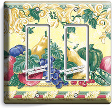 Fresh Fruits Vegetables Victorian Double Gfci Light Switch Plates Kitchen Decor - $10.79