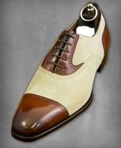 Handmade Men Brown Leather & Beige Suede Dress/Formal Oxford Shoes image 3