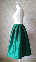 Dark Blue Glossy A Line Ruffle Skirt Women Taffeta High Waist Pleated Midi Skirt image 8