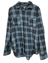 RUDE Long Sleeve Blue Plaid Distressed Button up Flannel Shirt Size Medium - $16.79