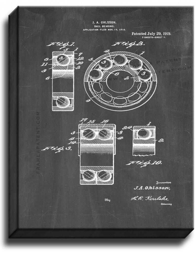 Primary image for Ball Bearing Patent Print Chalkboard on Canvas