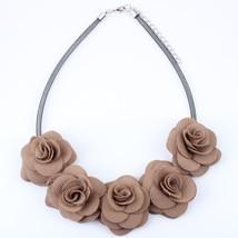 flowers fabric chocker necklace fashion jewelry aluminium wire new 2015 ... - $14.07