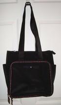 Vtg Tommy Hilfiger Black Nylon Purse Plaid Trim Star Logo Tote Bag Baby - $34.95