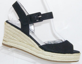 Jessica Simpson Dadia black canvas buckle espadrille platform wedges 6.5B - $37.08