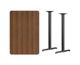 "Offex Rectangular Walnut Laminate Table Top with 5"" x 22"" Bar Height Tab... - $219.65"