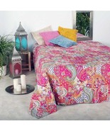Mango Gifts Kantha Quilt Cotton Bedspread Paisley Print Pink Color Ralli... - $56.53