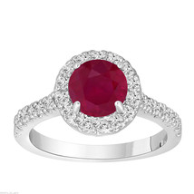 PLATINUM RUBY AND DIAMOND ENGAGEMENT RING 1.65 CARAT HALO BRIDAL HANDMAD... - $3,060.00