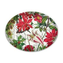 """MICHEL DESIGN WORKS GLASS HOLIDAY POINSETTIA  6.5"""" OVAL SOAP TRINKET DIS... - $12.49"""