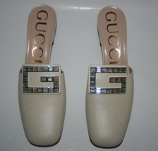 NIB Gucci Madelyn Leather Mid-Heel Crystal G Mules 551439 39.5 - $593.01