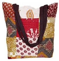 Indistar Womens Vintage Cotton Kantha Work Canvas Handle Handmade Tote ... - $44.11