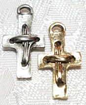 WRAPPED WIRE DESIGNED CRUCIFIX CROSS FINE PEWTER PENDANT 13mm L x 23mm W x 4mm D