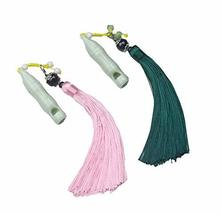 3 Packs Ceramic Whistles with Tassels Creative Retro Style Decoration Pendant