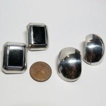 Vintage 2 Pair LOT Sterling Silver Cushion Non Pierced Clip Earrings 22.... - $49.49
