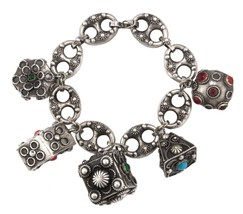 Ladies Antique Etruscan 800 Silver Fob Charm Glass Cabochon Stone Bracel... - €454,32 EUR