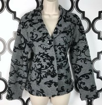 Laura Ashley Wool Gray Blazer Women's Petite S PS Black Floral Brocade J... - $15.29