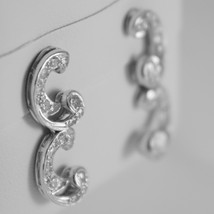 18K WHITE GOLD DOUBLE CURVE EARRINGS DIAMOND DIAMONDS 0.45 CARATS MADE IN ITALY image 2