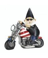 Patriotic Chopper Motorcycle Biker Gnome Solar Statue - $22.40