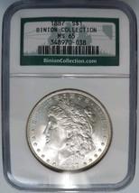 1887 Silver Morgan Dollar NGC MS 65 Binion Hoard Casino Collection Pedig... - $246.49