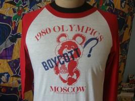 Vintage 1980 Moscow Olympics 80's Boycott Raglan Sleeve T Shirt L  - $79.19