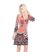 Adore Boho Style Exotic Print 3/4 Sleeve Tunic Dress in Coral/Multi - $51.90