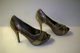 "Worthington  Shoes Brown Gold 2 Tone Glitter Peep Toe Platform 4"" Heels - $276,74 MXN"