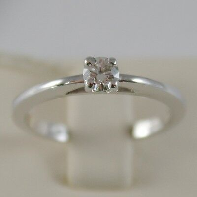 18K WHITE GOLD SOLITAIRE WEDDING BAND STYLIZED RING DIAMOND 0.20 MADE IN ITALY