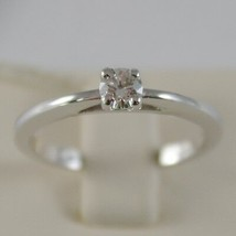 18K WHITE GOLD SOLITAIRE WEDDING BAND STYLIZED RING DIAMOND 0.20 MADE IN ITALY image 1