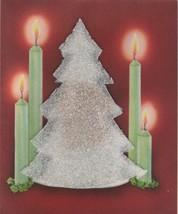 Vintage Christmas Card Tree Green Candles Foam Christmas Tree 1951 - $6.92