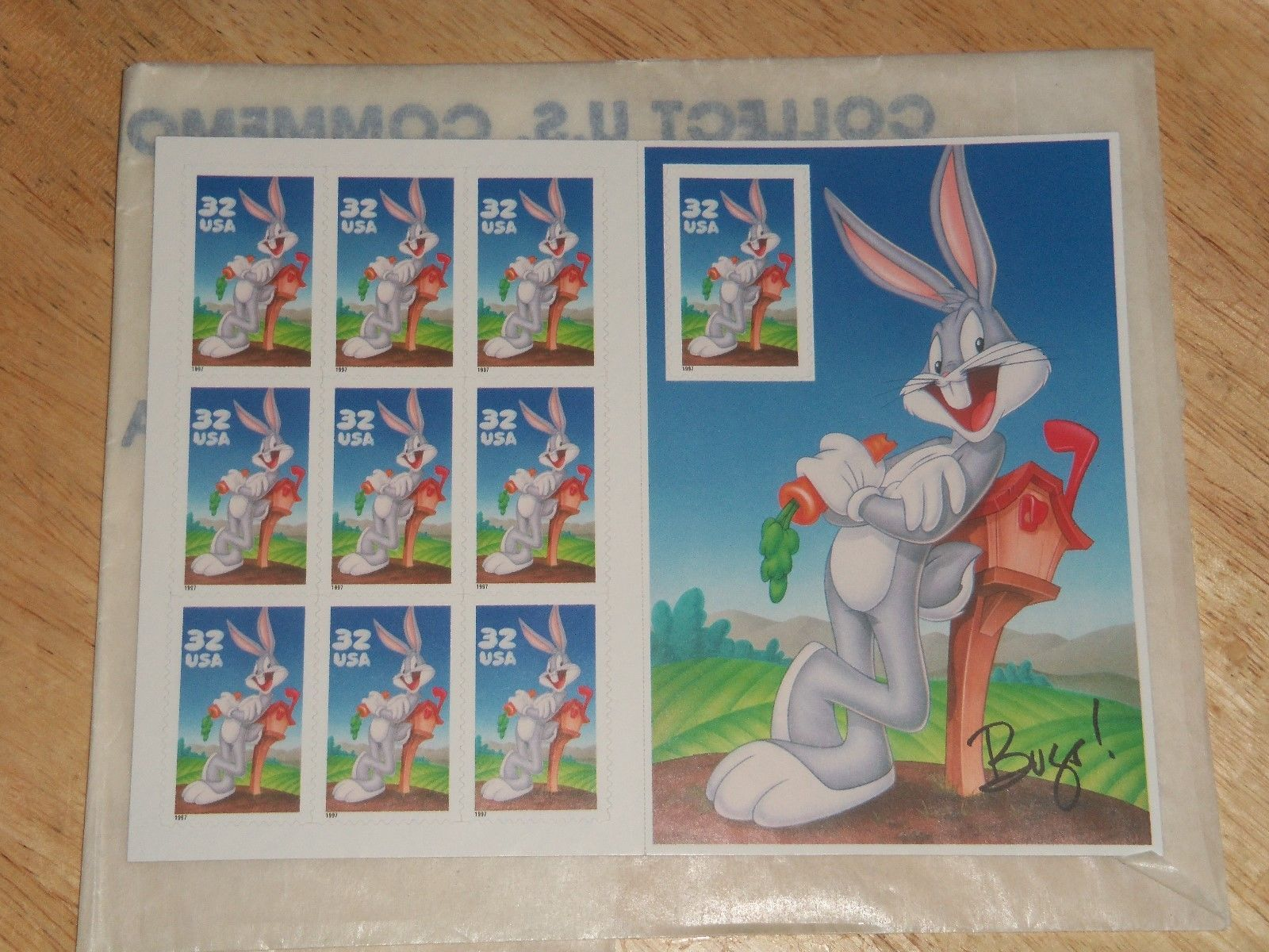 Primary image for 1997 32¢ Bugs Bunny Single Sheet Pane of 10 Collector Series USPS Postage Stamps