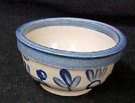 Mini Mixing Bowls Beaumont Pottery Salt Glazed Spongeware Blue Brush Wave 2 - $22.51