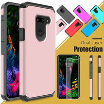 For LG G8 / G8 ThinQ Shockproof Armor PC Phone Case Cover+Glass Screen P... - $17.90