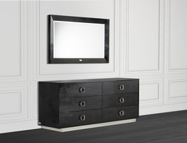 VIG A&X Victoria Modern Black Crocodile Lacquer Dresser 6 Drawers