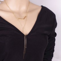2 LAYER GOLD NECKLACE CHOKER CHARM PENDANT           WE COMBINE SHIPPING... - $2.96