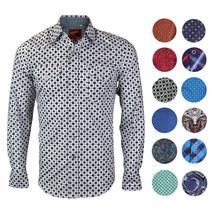 Rodeo Clothing Men's Western Cowboy Pearl Snap Long Sleeve Cotton Dress Shirt