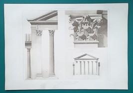 ROME Temple of Octavius Facade & Capital - SUPERB 1905 Espouy Heliogravu... - $22.95