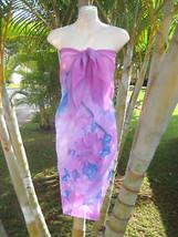 Sheer Sarong Purple Beach Palm Tree Hawaii Pareo Beach Skirt Coverup Scarf Dress - $4.89