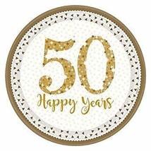 Amscan Sparkling Golden 50th Anniversary Dinner Plates x 8 #haf - $7.89
