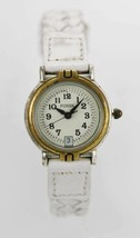 Fossil Watch Womens Stainless Steel Silver Gold Date Leather White Gray Quartz - £25.58 GBP