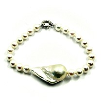 18K WHITE GOLD BRACELET BIG DROP BAROQUE PEARL 25 MM & ROUND 6 MM MADE IN ITALY image 1