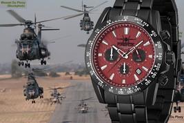 Men's Pilot Wristwatches Chronograph Seiko VD53 Movement Red Dial Link Bracelet  - $34,900.00
