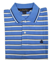 Brooks Brothers Mens Blue Woven Striped Original Fit  Polo Shirt Small S 3215-4 - $58.32